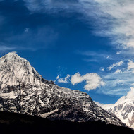 Panorama of the mountains of the Annapurna Range including Fishtail mountain, Machhapuchhre.