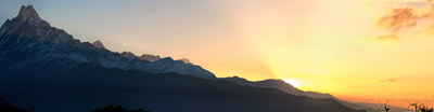 Thumbnail image of Panorama of sunrise over the Annapurna Range from...