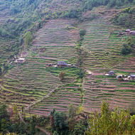 Another terrace farmed valley, and the trekking trail rising from the river and crossing the farms.