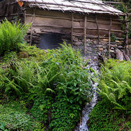 Small scale water mill beside a creek.