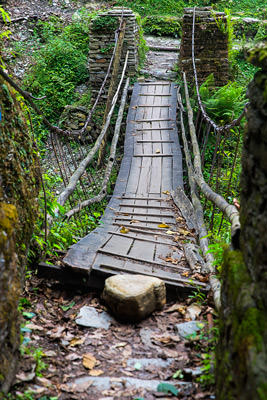 Thumbnail image of Suspension bridge, a bit old and rickety.