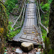 Suspension bridge, a bit old and rickety.