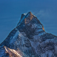 Fishtail mountain, Machhapuchhre, at sunrise.