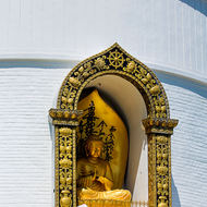 Silence: Buddha image at the Shanti Stupa, peace pagoda, Ananda Hill.