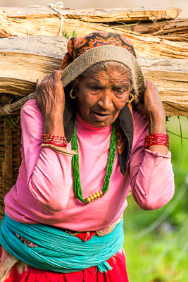 Thumbnail image ofWoman carrying a load of firewood.