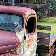Abandoned International truck in a field by the Condamine River.