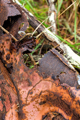 Thumbnail image of Car trunk latch, body rusted.
