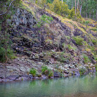 Rocky bank of the Condamine River.