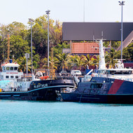 Vessels at dock, navy patrol boat base, Larrakeyah.