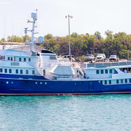 Moored Asteria at Darwin port cruise ship terminal.