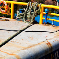 Stern deck of a workboat in Darwin fishing harbor.