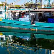 Fishing trawler in Darwin fishing harbor.