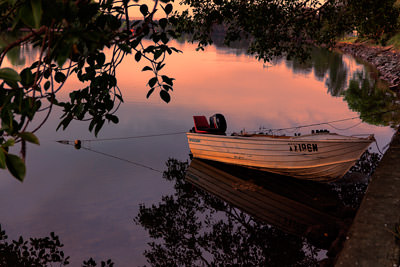 Thumbnail image ofSmall fishing dinghy on the Bellinger River in...
