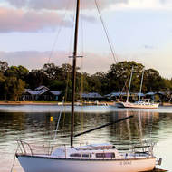 Yacht moored on Noosa River.