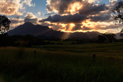 Thumbnail image ofSetting sun low over Mt Barney.