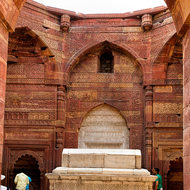 Raised sarcophagus in the Quwwat-ul-Islam mosque complex.