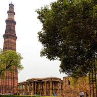 The Qutab Minar and remnants of the Quwwat-ul-Islam mosque.