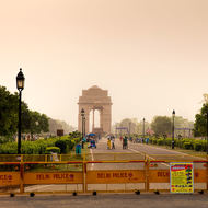 India Gate memorial late on a Sunday afternoon.