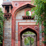 Archways in the grounds of Humayun's Tomb.