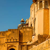 Close up to the outer walls of the Amber Fort.