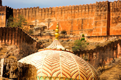 Thumbnail image ofGolden dome in Amber Fort in front of Jaigarh...