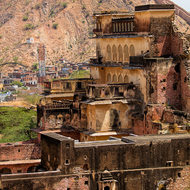 Crumbling; looking out from Amber Fort.