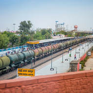 Tanker train passes through Jaipur railway station.