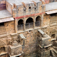 Step well, just a little water at the bottom of the Chand Baori storage.