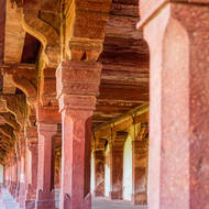 Columns of a pavilion at Fatehpur Sikri.
