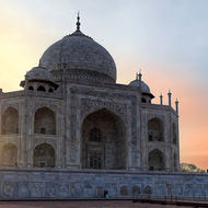 Sun burst: Taj Mahal west side.
