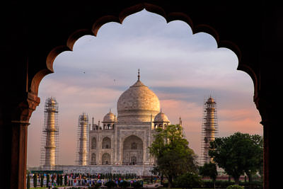 Thumbnail image ofMorning sun on the dome of the Taj Mahal from...