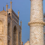 North-east corner of the Taj Mahal and minaret.