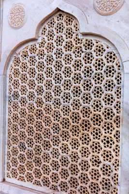 Thumbnail image of Carved marble window of the mausoleum.