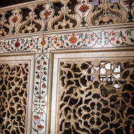 Inner partitions of carved marble.