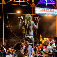 A Naga Sadhu readies for Aarti, evening prayers.