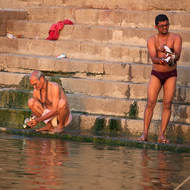River Ganges, bathing at dawn.