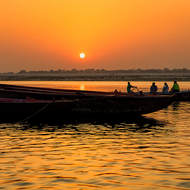 Sunrise over the River Ganges.