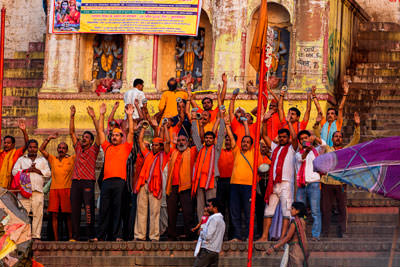 Thumbnail image of Morning prayers on the ghat.