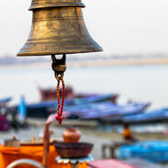 Bell, silent now, but for Aarti, evening prayers.