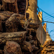 Wood stacked for cremations.