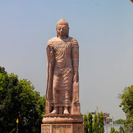Large standing Buddha at the Thai national temple at Sarnath.