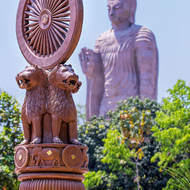 Statues in the gardens at Thai national temple at Sarnath.