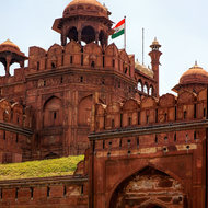 Red Fort guard tower above the Lahori gate.