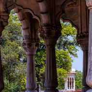 Through the marble pavilion arches, across the garden, to more arches.