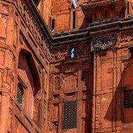 Pigeons homing on the Red Fort Lahori gate facade.