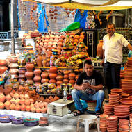 Clay pot vendor.