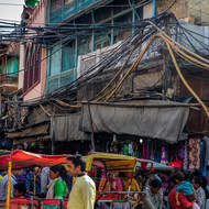 Street scene around Chandi Chowk spice bazar.
