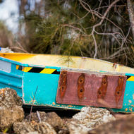 Dinghy beached.