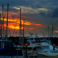 Sunset over the Snapper Creek marina.