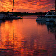 Soft glow over the marina.
